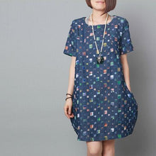 Load image into Gallery viewer, Denium blue baggy sundress plus size summer cotton shift dress