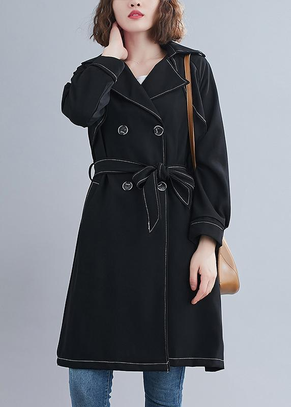 Diy Black Top Quality Crane Coats Pattern Collar Sashes Spring Outwea