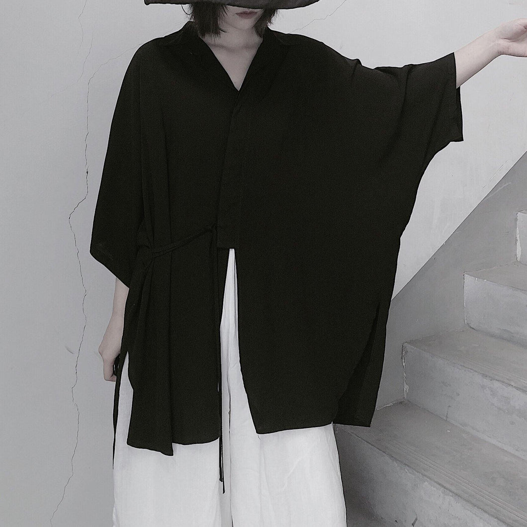 Diy Lapel Batwing Sleeve Blouses For Women Photography Black Top