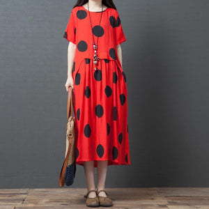 Dots Splcied Loose Short Sleeve Midi Dress
