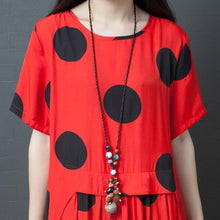 Load image into Gallery viewer, Dots Splcied Loose Short Sleeve Midi Dress