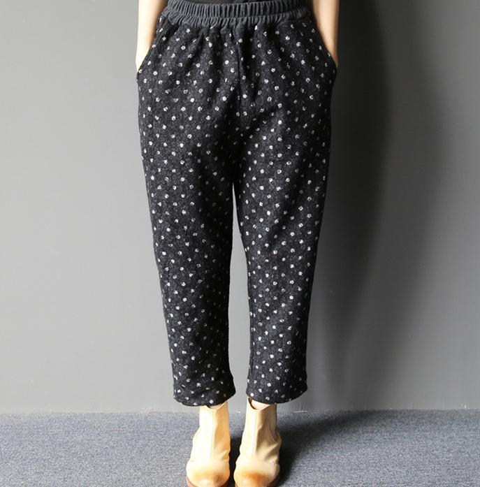 Dotted cotton pants plus size crop pants Vintage styles