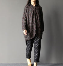 Laden Sie das Bild in den Galerie-Viewer, Dotted cotton pants plus size crop pants Vintage styles