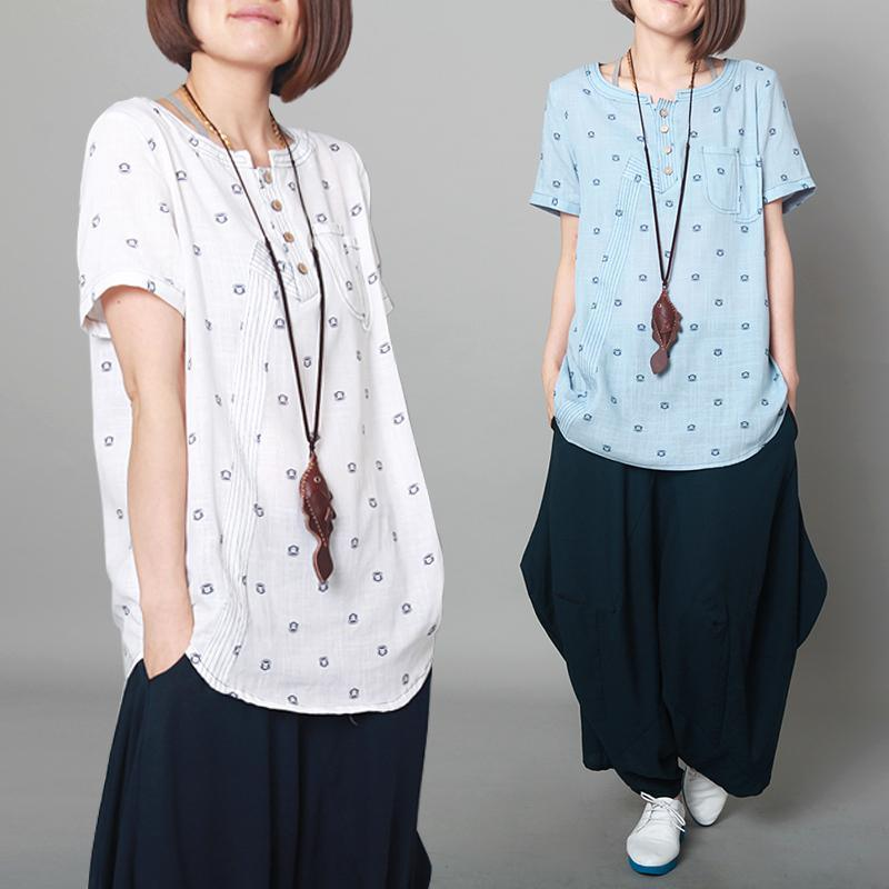 Dotted floral white linen top oversize women linen blouse shirt