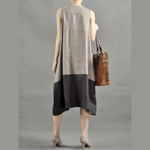 Laden Sie das Bild in den Galerie-Viewer, Double V neck maxi dress cotton sundress sleeveless-will be available soon