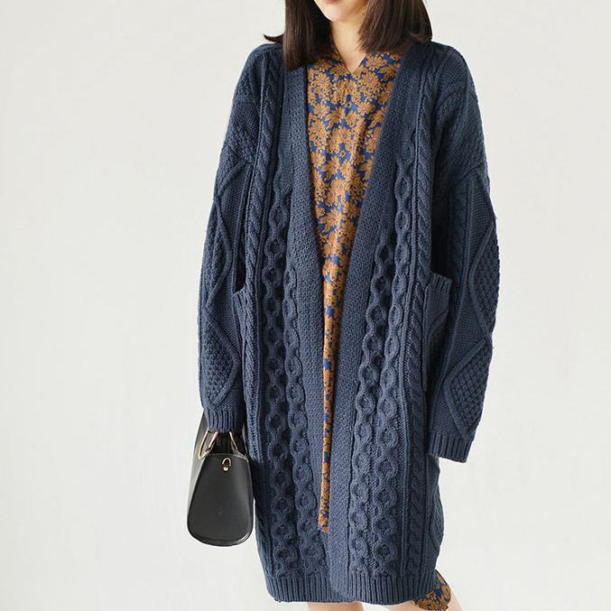 Dull blue cable knit cardigans plus size sweaters knitted coats