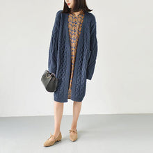 Laden Sie das Bild in den Galerie-Viewer, Dull blue cable knit cardigans plus size sweaters knitted coats
