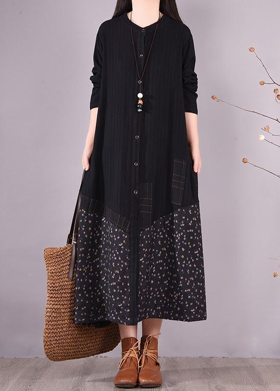 Elegant Black Patchwork Print Tunic O Neck Pockets Maxi Spring Dresses