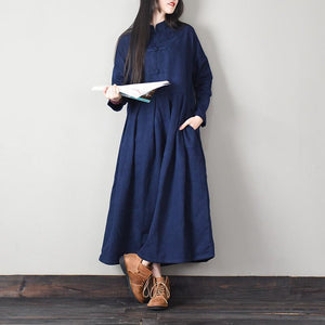 Elegant Chinese Button cotton stand collar quilting clothes Work navy cotton Dresses