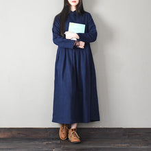 Load image into Gallery viewer, Elegant Chinese Button cotton stand collar quilting clothes Work navy cotton Dresses