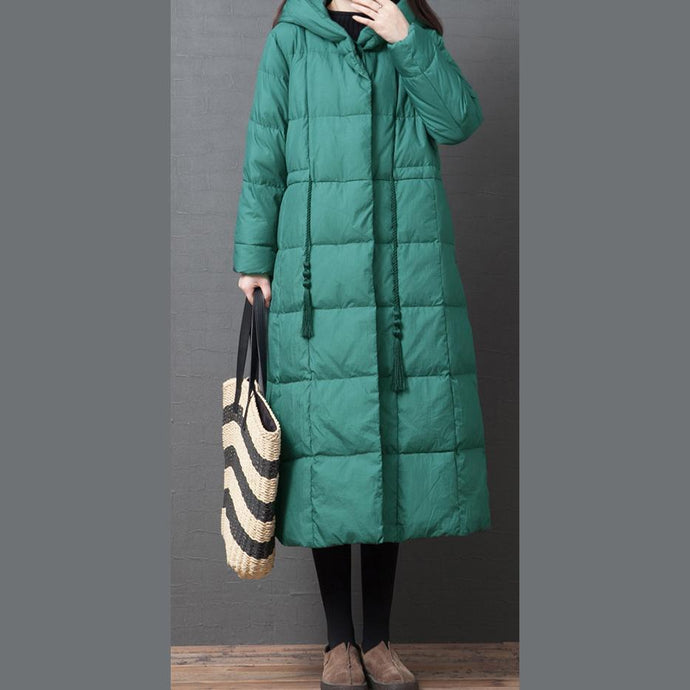 Elegant Loose fitting down jacket winter outwear green hooded pockets warm coat