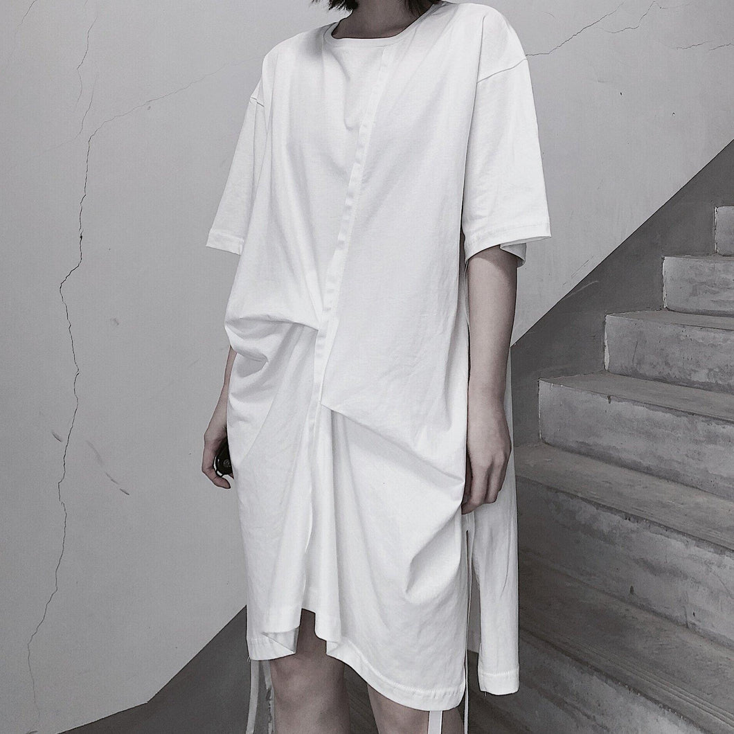 Elegant O Neck Half Sleeve Spring Tunics Wardrobes White Dress
