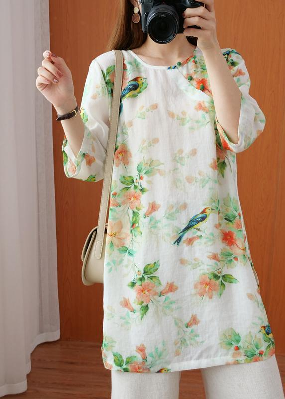 Elegant O Neck Half Sleeve Top Sewing Green Bird Print Shirt