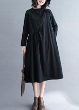 Load image into Gallery viewer, Elegant O Neck Wrinkled Spring Tunics Outfits Black Maxi Dress