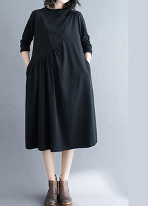 Elegant O Neck Wrinkled Spring Tunics Outfits Black Maxi Dress