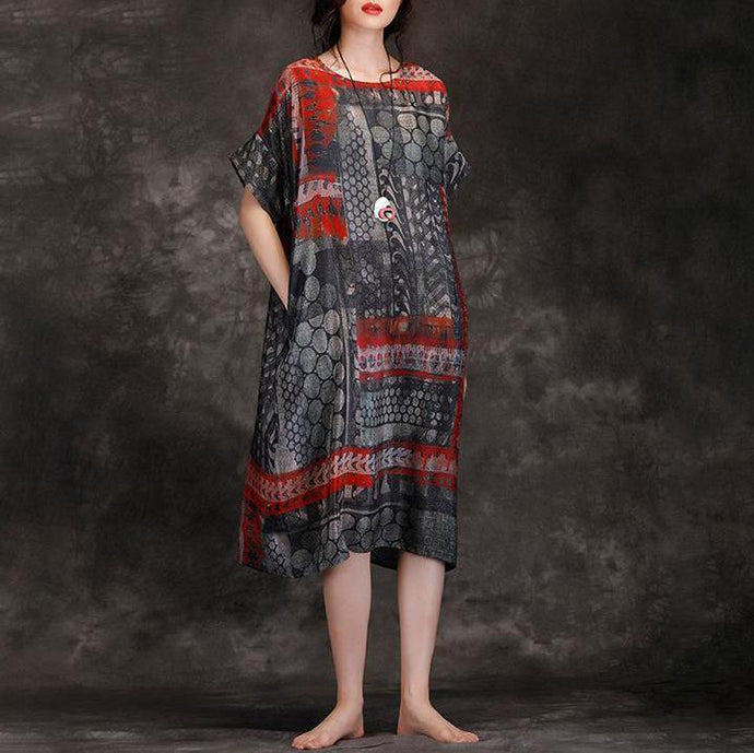 Elegant Wardrobes Vintage Summer Round Neck Travel Loose Printed Dress