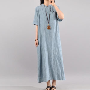 Elegant Women Vintage Cotton Summer light blue Solid Maxi Short Sleeve Dress
