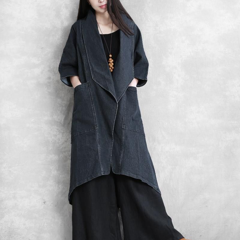 Elegant asymmetric top quality trench coat denim blue oversized coat fall