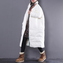Load image into Gallery viewer, Elegant beige down jacket plus size stand collar Parka Warm pockets zippered down coat