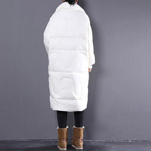 Elegant beige down jacket plus size stand collar Parka Warm pockets zippered down coat