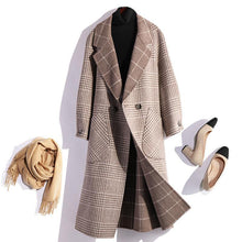 Load image into Gallery viewer, Elegant beige gray plaid wool coat plus size Winter coat fall women coats tie waist