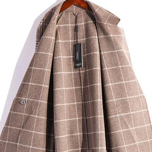 Elegant beige gray plaid wool coat plus size Winter coat fall women coats tie waist