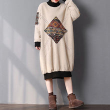 Load image into Gallery viewer, Elegant beige warm spring maxi dress Turtleneck cotton clothing patchwork dress