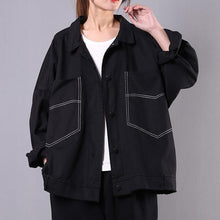 Load image into Gallery viewer, Elegant black Fashion tunics for women Gifts lapel pockets spring coats