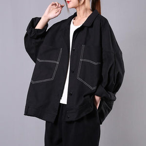 Elegant black Fashion tunics for women Gifts lapel pockets spring coats