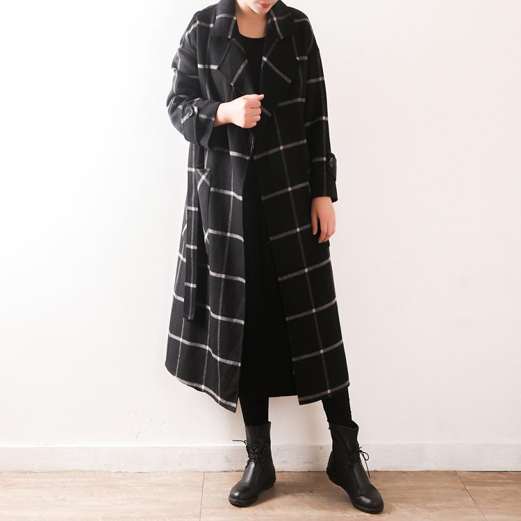 Elegant black Plaid Wool coats plus size clothing Notched tie waist pockets coats