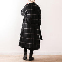 Load image into Gallery viewer, Elegant black Plaid Wool coats plus size clothing Notched tie waist pockets coats