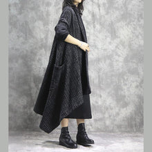 Load image into Gallery viewer, Elegant black brown Plaid Coats trendy plus size long V neck patchwork coat