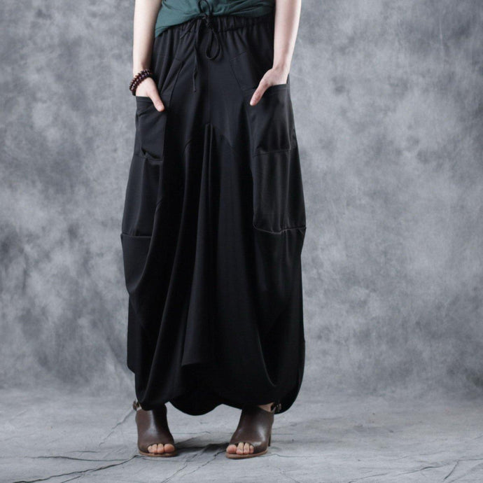 Elegant black cotton clothes Women elastic waist asymmetric Maxi summer skirt
