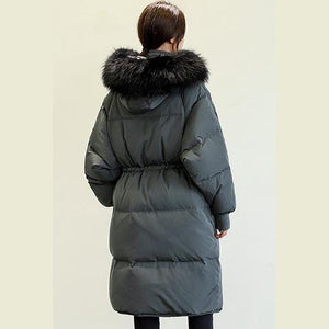 Elegant black down jacket woman Loose fitting tie waist down jacket fur collar coats