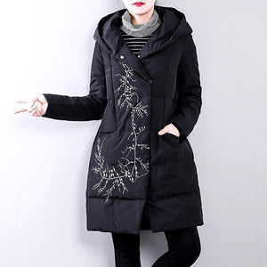 Elegant black goose Down coat plus size hooded YZ-2018111412