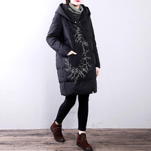 Load image into Gallery viewer, Elegant black goose Down coat plus size hooded YZ-2018111412