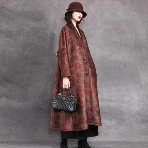 Elegant black print woolen coats casual long winter baggy V neck coats