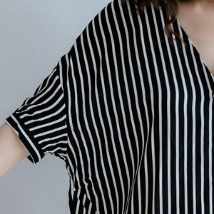 Elegant black striped cotton blended tops plus size holiday tops top quality batwing Sleeve baggy v neck natural cotton blended tops