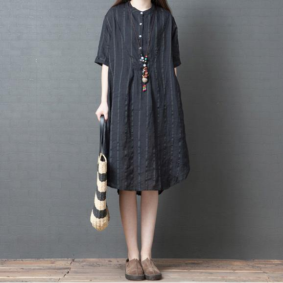 Elegant black striped linen Robes stand collar pockets oversized summer Dress