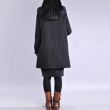 Load image into Gallery viewer, Elegant black winter parkas Loose fitting warm winter coat hooded winter coats