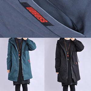 Elegant black winter parkas Loose fitting warm winter coat hooded winter coats
