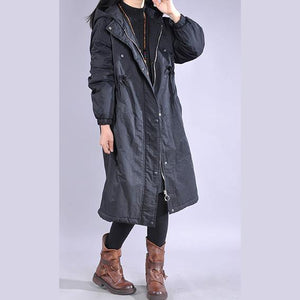 Elegant black winter parkas oversized snow jackets drawstring hooded overcoat