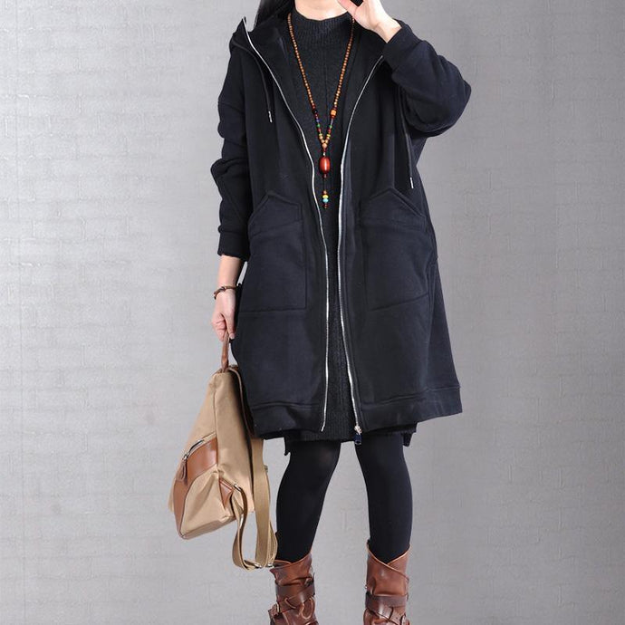 Elegant black zippered coat casual snow jackets two pockets drawstring hooded coats