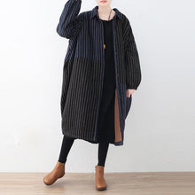 Load image into Gallery viewer, Elegant blue black striped quilted cotton coat plus size clothing turn-down Collar overcoat Warm patchwork trench wool coat