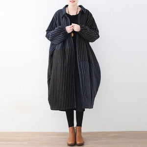 Elegant blue black striped quilted cotton coat plus size clothing turn-down Collar overcoat Warm patchwork trench wool coat