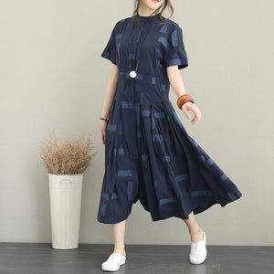 Elegant blue cotton blended plus size Stand exra large hem caftans vintage short sleeve tie waist cotton blended dress