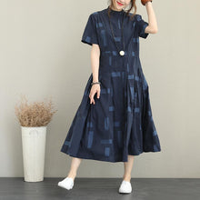 Load image into Gallery viewer, Elegant blue cotton blended plus size Stand exra large hem caftans vintage short sleeve tie waist cotton blended dress