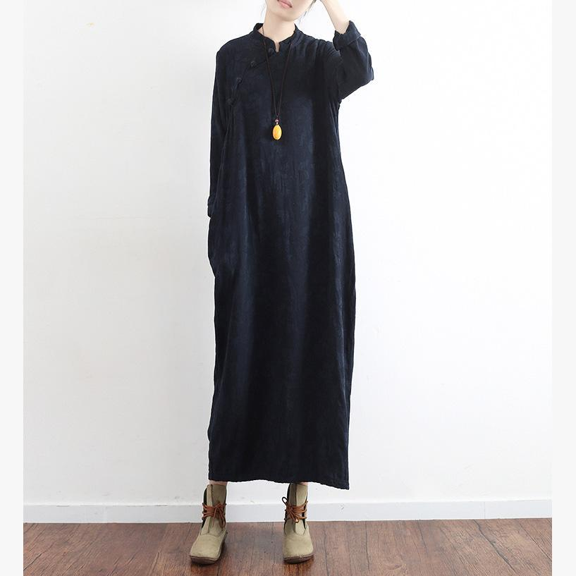 Elegant blue cotton dress Organic Runway stand collar Jacquard long Dress