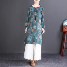 Load image into Gallery viewer, Elegant blue lemon linen knee dress plus size traveling clothing casual short sleeve O neck linen dresses