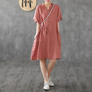 Elegant blue linen Robes stand collar patchwork Knee Dress